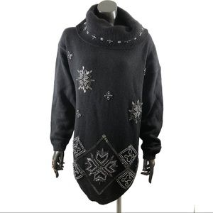 Couture Lady 1X Beaded Snowflake Sweater Black